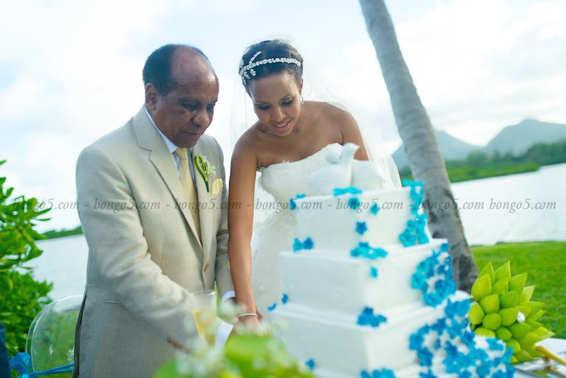 Reginald Mengi akimsaidia mke wake Jacqueline kukata keki ya harusi