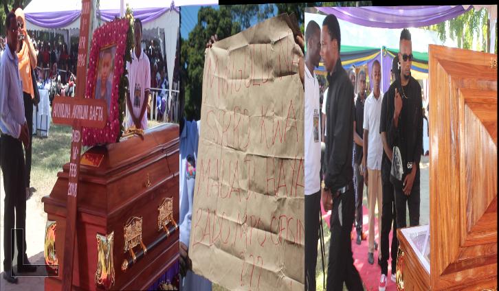 Photo of Picha: Kuagwa kwa mwili wa Akwilina, msanii mmoja wa Bongo Flava ajitokeza, mabango yenye ujumbe mzito
