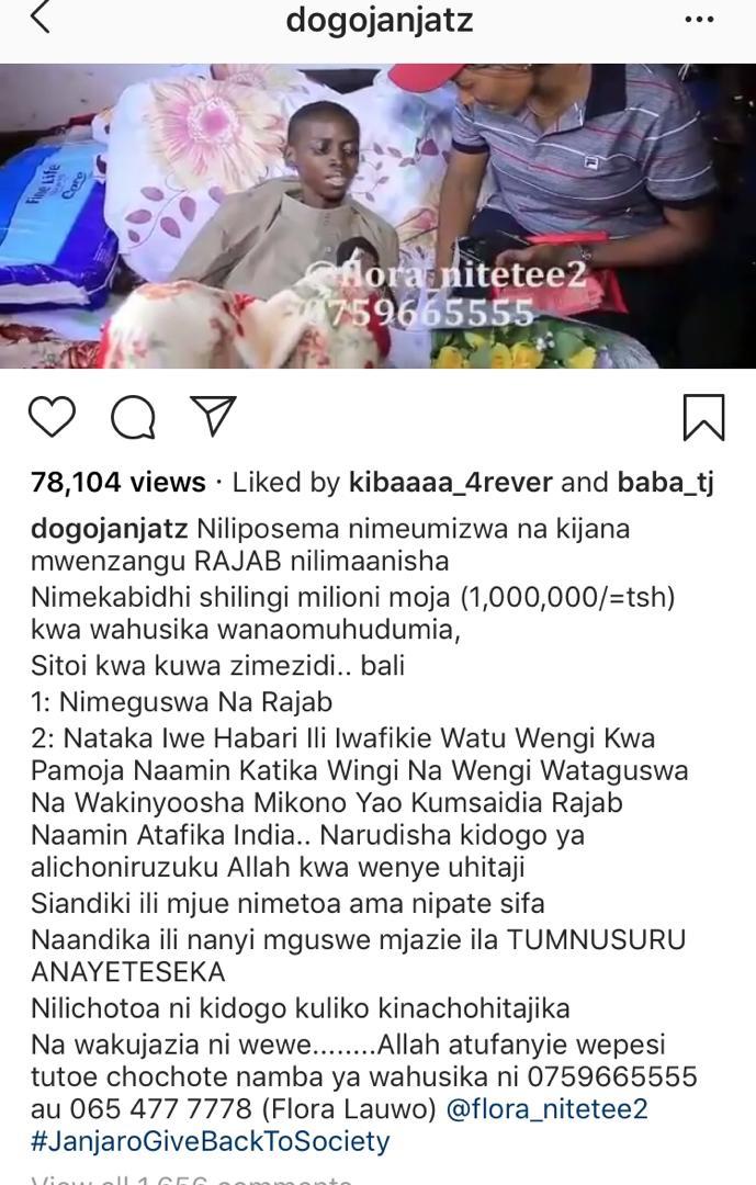 Diamond, Dogo Janja waungana na Watanzania wengine kutoa msaada kwa kijana mwenye kansa  (+Video)